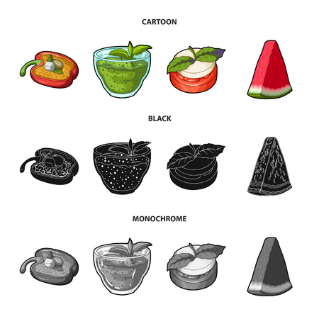 Sweet Bulgarian pepper, vitamin drink, jam with raspberry and mint leaves, a piece of watermelon. Vegetarian dishes set collection icons in cartoon,black,monochrome style vector symbol stock illustration web.
