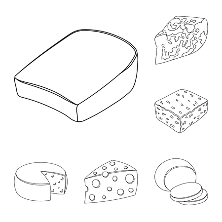 Different kind of cheese outline icons in set collection for design.Milk product cheese vector symbol stock  illustration. Ilustrace