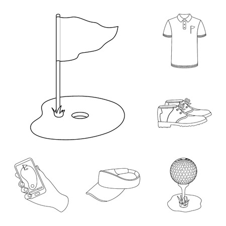 Golf and attributes outline icons in set collection for design.Golf Club and equipment vector symbol stock  illustration. Vectores