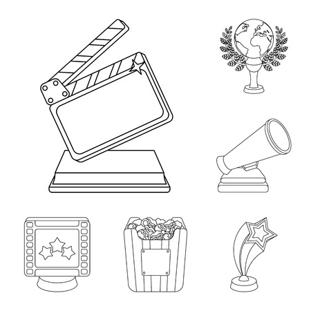 Film awards and prizes outline icons in set collection for design. The World Film Academy vector symbol stock  illustration. Stock Illustratie