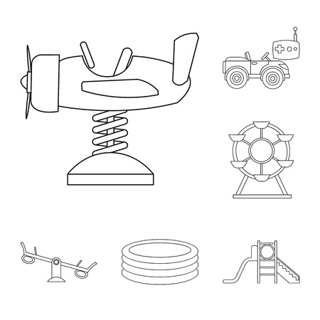 Playground, entertainment outline icons in set collection for design. Attraction and equipment vector symbol stock  illustration. Foto de archivo - 103500020