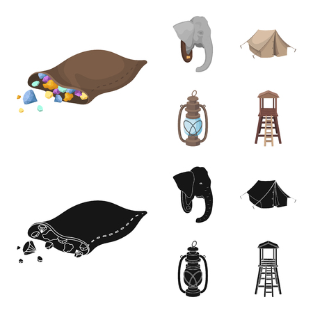 A bag of diamonds, an elephant head, a kerosene lamp, a tent. African safari set collection icons in cartoon,black style vector symbol stock illustration .