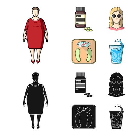 Full woman, a girl with glasses, a scales with exquisite result. Diabeth set collection icons in cartoon,black style vector symbol stock illustration web. Illustration