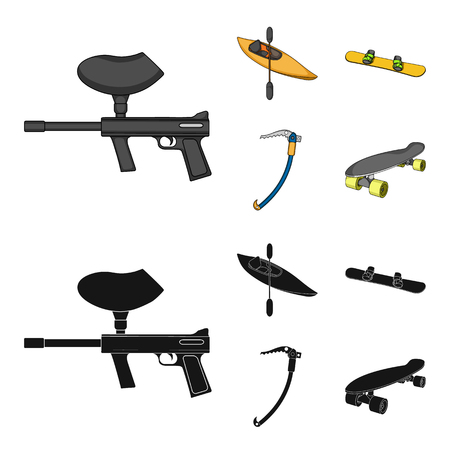 Paintball marker, kayak with a paddle, snowboard and climbing ice ax.Extreme sport set collection icons in cartoon,black style vector symbol stock illustration web. Illustration