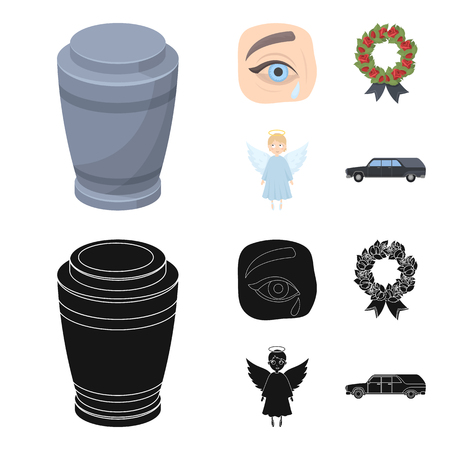 The urn with the ashes of the deceased, the tears of sorrow for the deceased at the funeral, the mourning wreath, the angel of death. Funeral ceremony set collection icons in cartoon,black style vector symbol stock illustration web.
