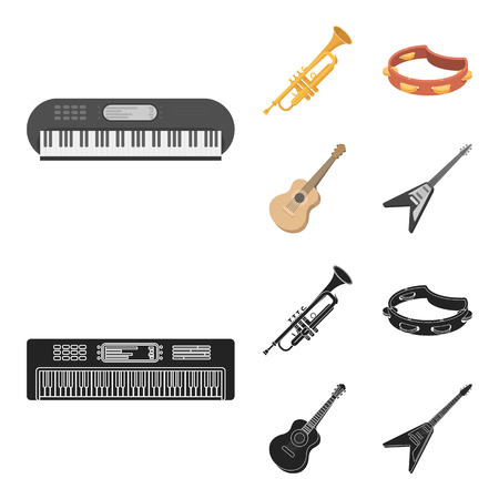 Electro organ, trumpet, tambourine, string guitar. Musical instruments set collection icons in cartoon,black style vector symbol stock illustration web.