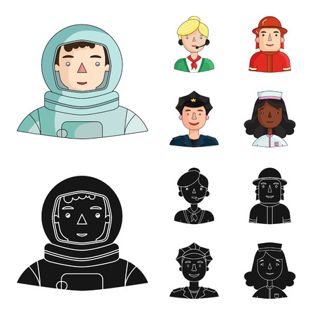 An astronaut in a spacesuit, a co-worker with a microphone, a fireman in a helmet, a policeman with a badge on his cap. People of different professions set collection icons in cartoon,black style vector symbol stock illustration web.