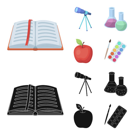 An open book with a bookmark, a telescope, flasks with reagents, a red apple. Schools and education set collection icons in cartoon,black style vector symbol stock illustration web.