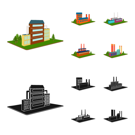 Processing factory,metallurgical plant. Factory and industry set collection icons in cartoon,black style isometric vector symbol stock illustration web.