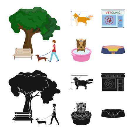 Walking with a dog in the park, combing a dog, a veterinarian office, bathing a pet. Vet clinic and pet care set collection icons in cartoon,black style vector symbol stock illustration web. Vettoriali
