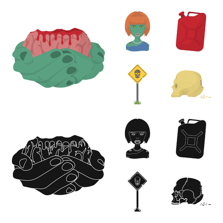 Zombies and Attributes cartoon,black icons in set collection for design. Dead man vector symbol stock web illustration.