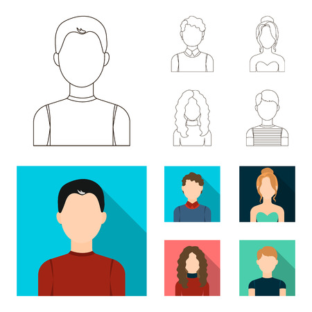 Curly-haired boy, blond, red-haired, teenager.Avatar set collection icons in outline,flat style vector symbol stock illustration web. Illustration