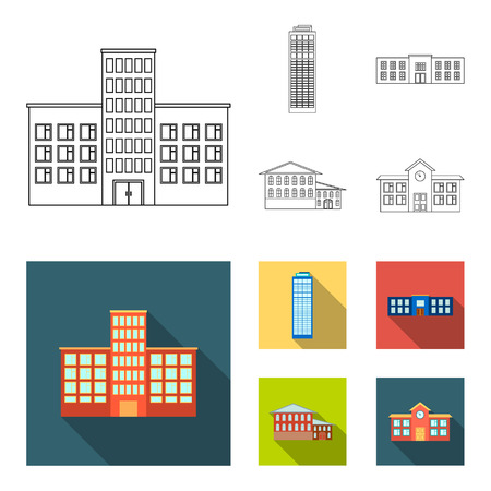 Skyscraper, police, hotel, school.Building set collection icons in outline,flat style vector symbol stock illustration web.