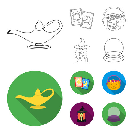 Tarot cards, holiday halloween, magician in a hat, crystal ball. Black and white magic set collection icons in outline,flat style vector symbol stock illustration web.