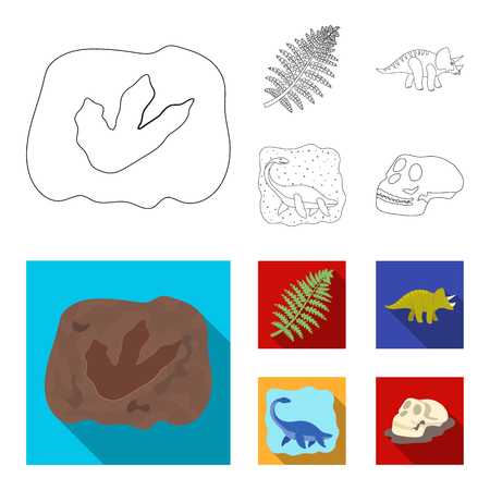 Sea dinosaur,triceratops, prehistoric plant, human skull. Dinosaur and prehistoric period set collection icons in outline,flat style vector symbol stock illustration web.