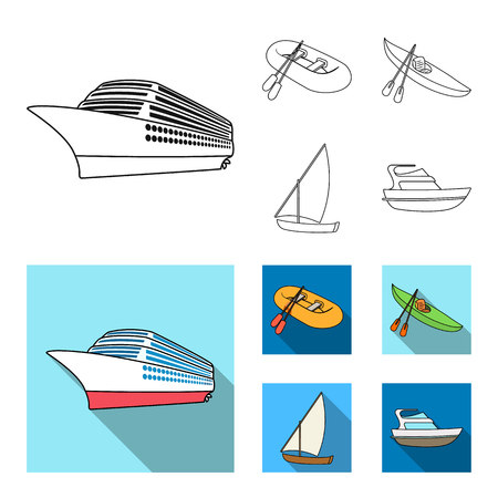 A rubber fishing boat, a kayak with oars, a fishing schooner, a motor yacht.Ships and water transport set collection icons in outline,flat style vector symbol stock illustration web.