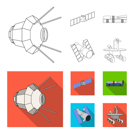 The space station in orbit, the preparation of the launch rocket, the lunar rover on the surface. Space technology set collection icons in outline,flat style vector symbol stock illustration web. Vettoriali