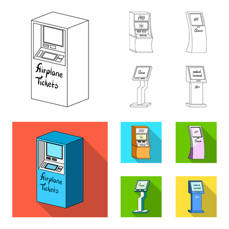 Medical terminal, ATM for payment,apparatus for queue. Terminals set collection icons in outline,flat style isometric vector symbol stock illustration web .
