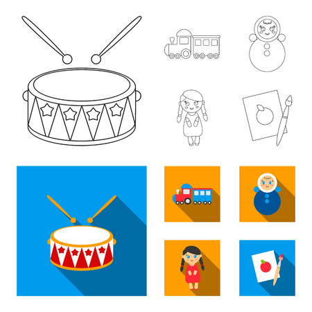 Train.kukla, picture.Toys set collection icons in outline,flat style vector symbol stock illustration web.