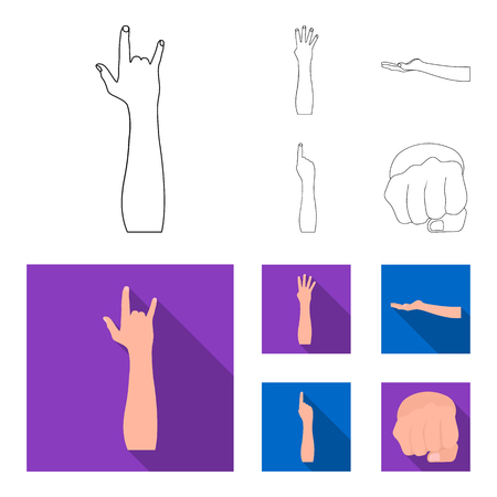 Sign Language outline,flat icons in set collection for design.Emotional part of communication vector symbol stock web illustration. Stock Illustratie