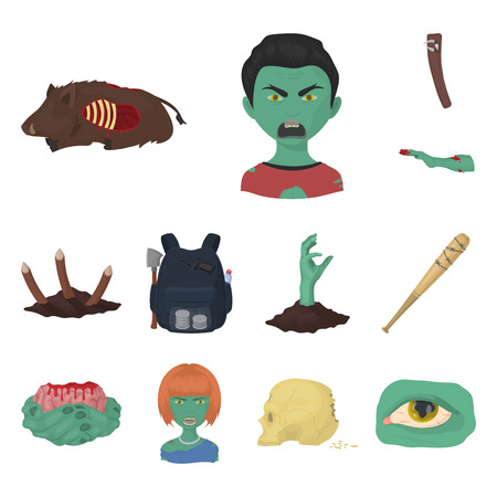 Zombies and Attributes cartoon icons in set collection for design. Dead man vector symbol stock web illustration.