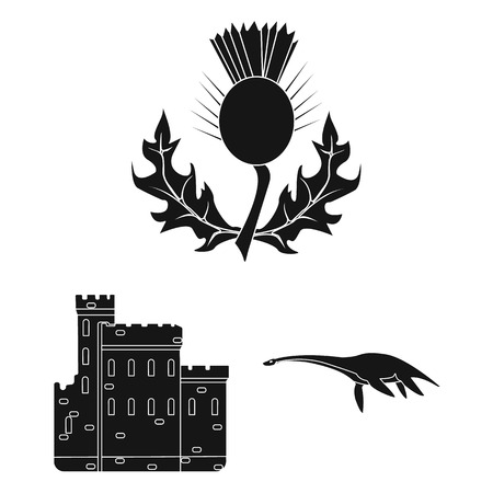 Country Scotland black icons in set collection for design. Sightseeing, culture and tradition vector symbol stock web illustration.  イラスト・ベクター素材