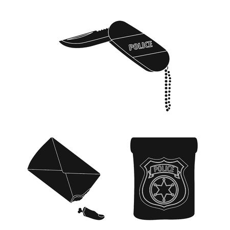 Detective agency black icons in set collection for design. Crime and investigation vector symbol stock web illustration. Illustration