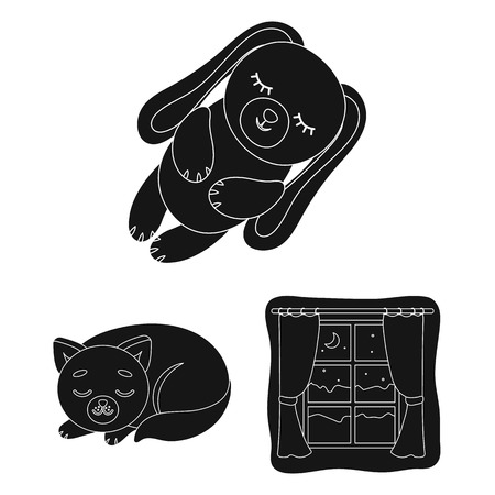Rest and sleep black icons in set collection for design. Accessories and comfort vector symbol stock web illustration.