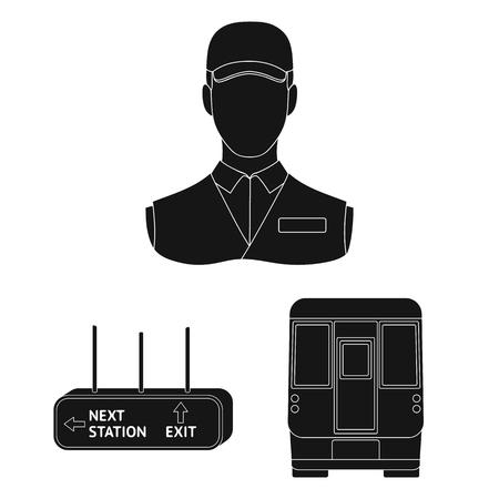 Metro, subway black icons in set collection for design.Urban transport vector symbol stock web illustration.