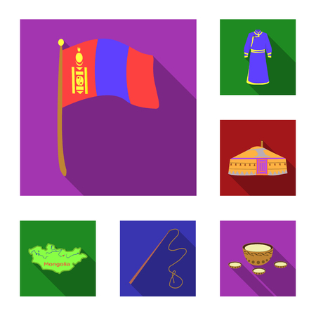 Country Mongolia flat icons in set collection for design.Territory and landmark vector symbol stock web illustration.