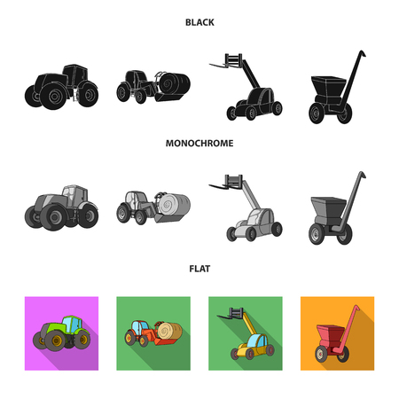 Tractor, hay balancer and other agricultural devices. Agricultural machinery set collection icons in black, flat, monochrome style vector symbol stock illustration web.