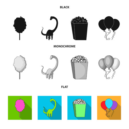 Sweet cotton wool on a stick, a toy dragon, popcorn in a box, colorful balloons on a string. Amusement park set collection icons in black, flat, monochrome style vector symbol stock illustration web. Illustration