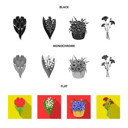 Un bouquet di fiori freschi icone nere, piatte, monocromatiche nella raccolta di set per il design. Vari mazzi di fiori simbolo d'archivio web illustrazione di vettore.