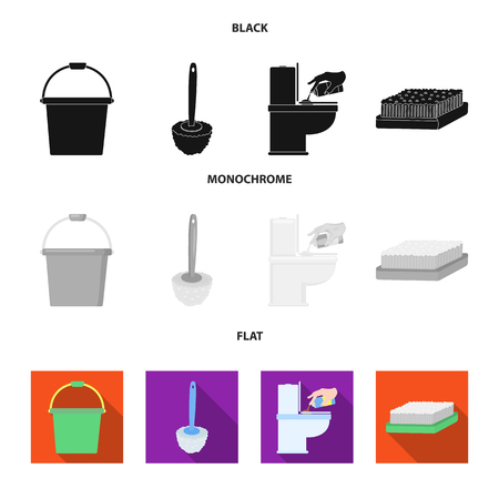 Cleaning and maid black, flat, monochrome icons in set collection for design. Equipment for cleaning vector symbol stock web illustration.