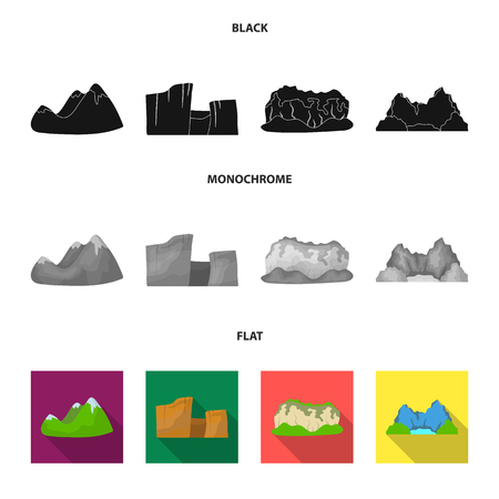 Green mountains with snow tops, a canyon, rocks with forests, a lagoon and rocks. Different mountains set collection icons in black, flat, monochrome style vector symbol stock illustration web.