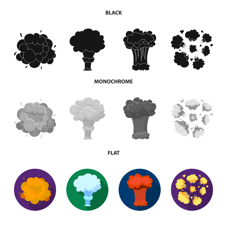 Flame, sparks, hydrogen fragments, atomic or gas explosion. Explosions set collection icons in black, flat, monochrome style vector symbol stock illustration web.