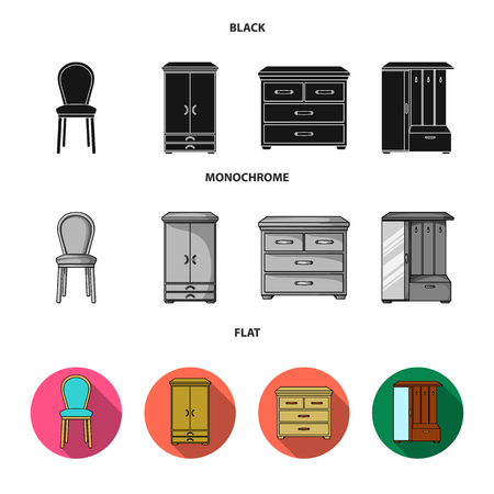 Armchair, cabinet, bedside, table .Furniture and home interiorset collection icons in black, flat, monochrome style vector symbol stock illustration web.