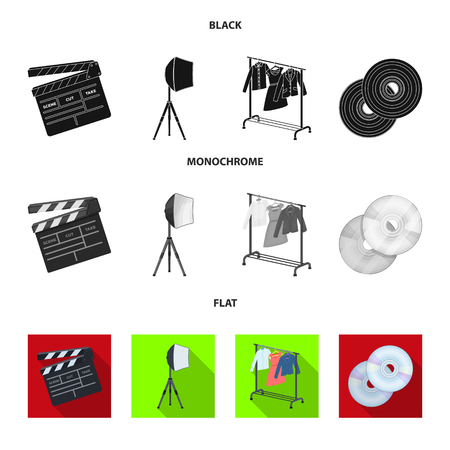 Movies, discs and other equipment for the cinema. Making movies set collection icons in black, flat, monochrome style vector symbol stock illustration web. Illustration