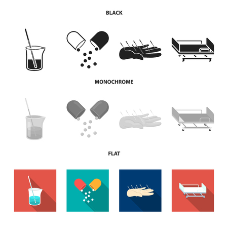 Solution, tablet, acupuncture, hospital gurney.Medicine set collection icons in black, flat, monochrome style vector symbol stock illustration web.