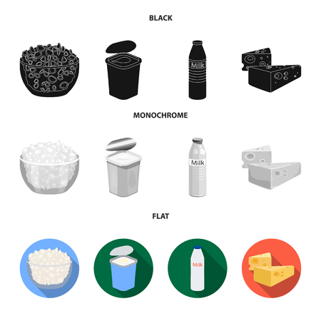 Milk, Calcium, Product, Food .Milk product and sweet set collection icons in black, flat, monochrome style vector symbol stock illustration web.