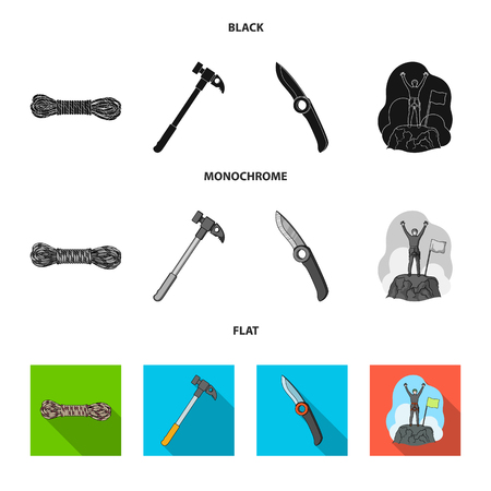 Climber on conquered top, coil of rope, knife, hammer.Mountaineering set collection icons in black, flat, monochrome style vector symbol stock illustration web. Reklamní fotografie - 103629581