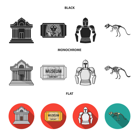 Picture, sarcophagus of the pharaoh, walkie-talkie, crown. Museum set collection icons in black, flat, monochrome style vector symbol stock illustration web.