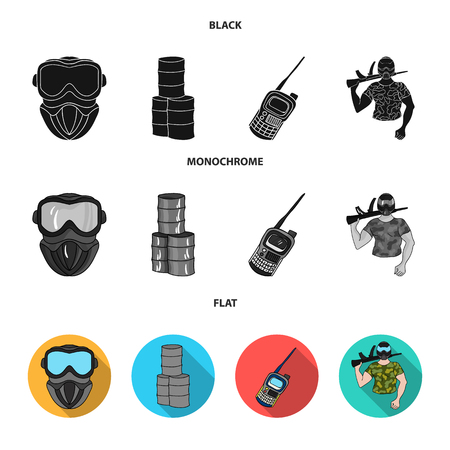 Equipment, mask, barrel, barricade .Paintball set collection icons in black, flat, monochrome style vector symbol stock illustration web.