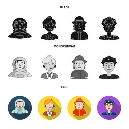 Un astronauta con traje espacial, un compañero de trabajo con micrófono, un bombero con casco, un policía con una placa en la gorra. Personas de diferentes profesiones establecen los iconos de la colección en la web de ilustración de stock de símbolo de vector de estilo negro, plano, monocromo.
