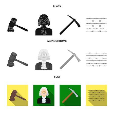 Judge, wooden hammer, barbed wire, pickaxe. Prison set collection icons in black, flat, monochrome style vector symbol stock illustration web.
