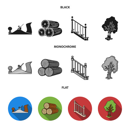 Logs in a stack, plane, tree, ladder with handrails. Sawmill and timber set collection icons in black, flat, monochrome style vector symbol stock illustration web.