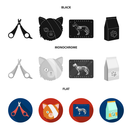 Scissors, cat, bandage, wounded .Vet Clinic set collection icons in black, flat, monochrome style vector symbol stock illustration web.