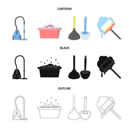 Cleaning and maid cartoon,black,outline icons in set collection for design. Equipment for cleaning vector symbol stock web illustration. Vectores
