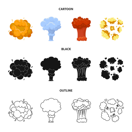 Flame, sparks, hydrogen fragments, atomic or gas explosion. Explosions set collection icons in cartoon,black,outline style vector symbol stock illustration web.