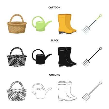 Basket wicker, watering can for irrigation, rubber boots, forks. Farm and gardening set collection icons in cartoon,black,outline style vector symbol stock illustration web. Ilustração